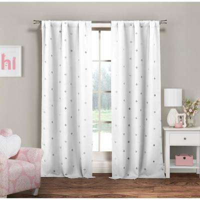 Becca 38 in. x 84 in. L Polyester Metallic Curtain Panel in White-Silver (2-Pack)