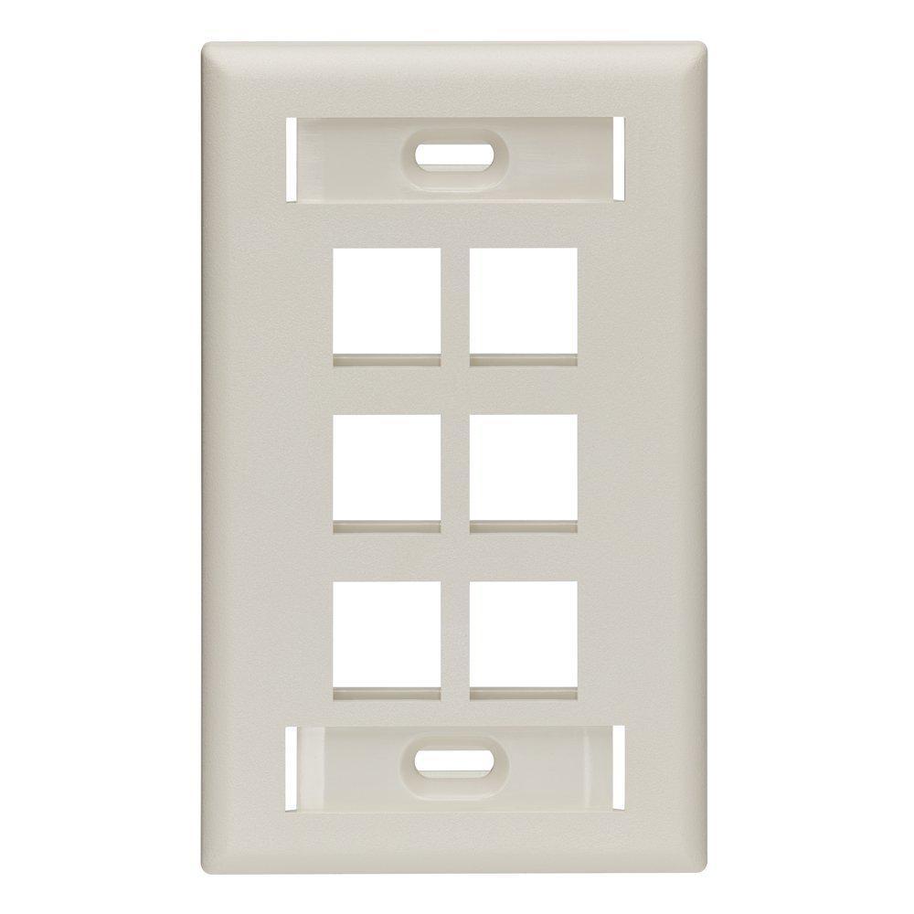 1-Gang QuickPort Standard Size 6-Port Wallplate with ID Windows, Light Almond