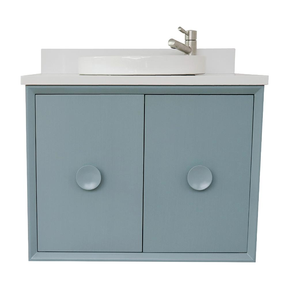 Bellaterra Home Stora 31 in. W x 22 in. D Wall Mount Bath Vanity in Aqua Blue with Quartz Vanity Top in White with White Round Basin