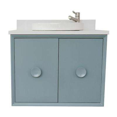 Stora 31 in. W x 22 in. D Wall Mount Bath Vanity in Aqua Blue with Quartz Vanity Top in White with White Round Basin