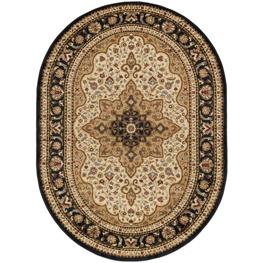 Traditional Area Rugs: Tayse Rugs Elegance Ivory 5 Ft. X 7 Ft. Oval Traditional
