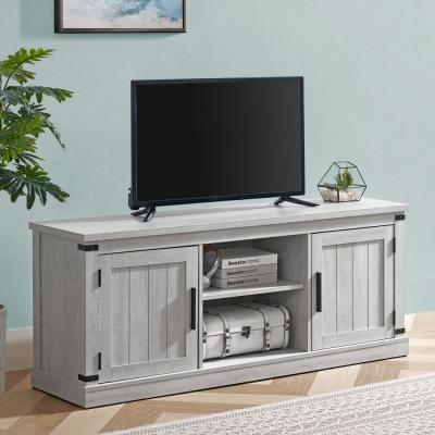 58 in. Saw Cut Off White TV Stand (Fits TVs up To 60 in.)