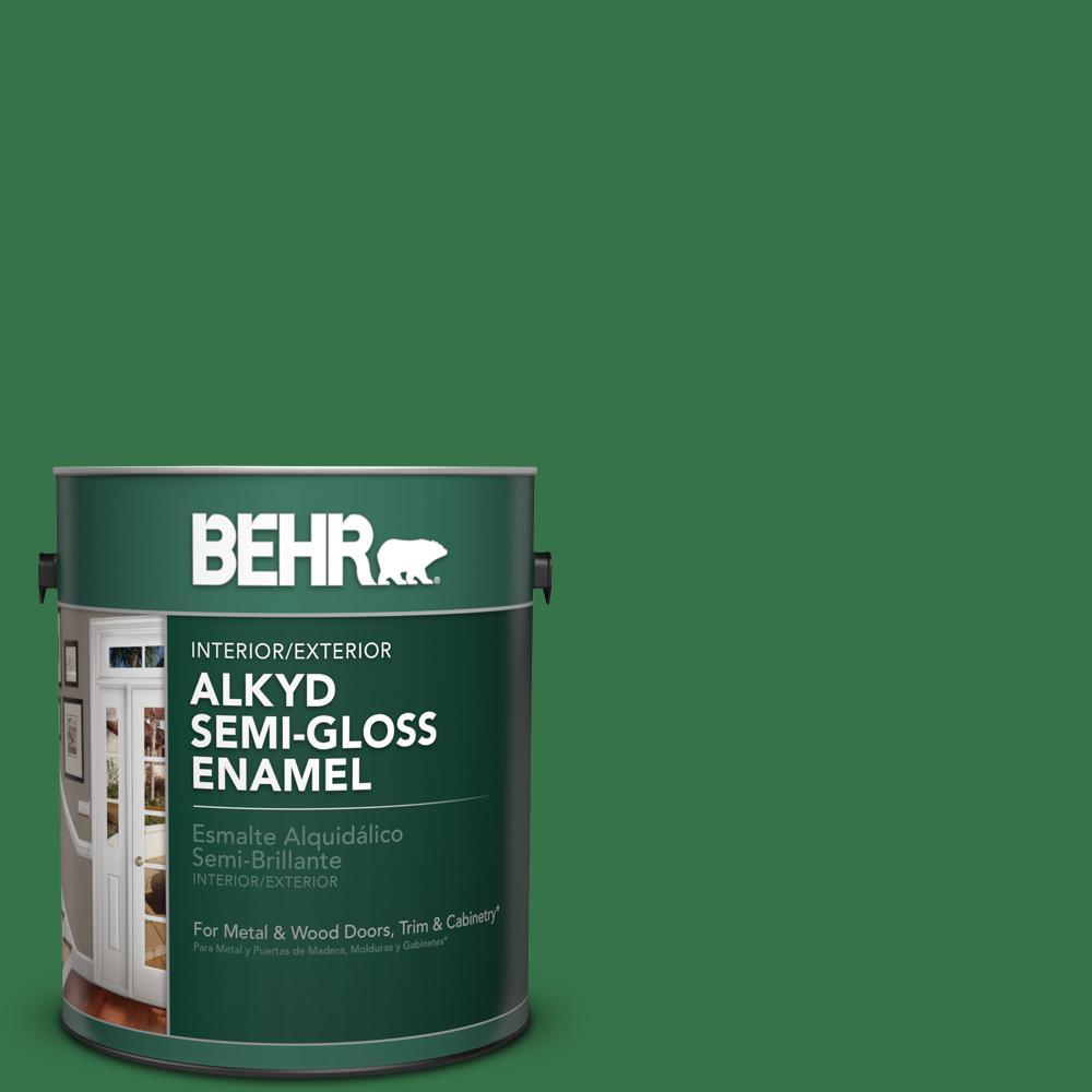 1 gal. #P410-7 Grasslands Semi-Gloss Enamel Alkyd Interior/Exterior Paint
