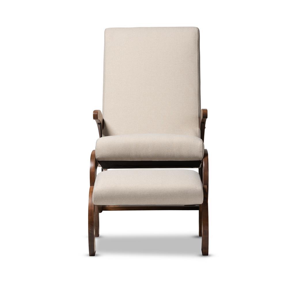 Baxton Studio Kaira Light Beige and Walnut Fabric Rocking Chair and