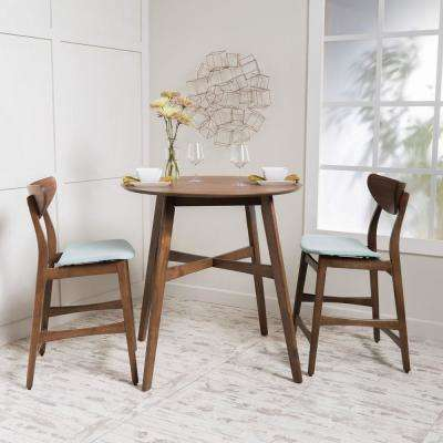 3-Piece Natural Walnut and Mint Fabric Counter Height Dining Set
