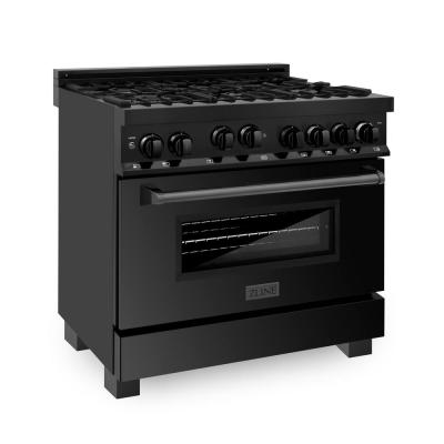ZLINE 36 in. Professional 4.6 cu. ft. 6 Gas on Gas Range in Black Stainless Steel (RGB-36)