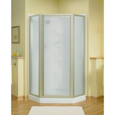 Intrigue 27-9/16 in. x 72 in. Neo-Angle Shower Door in Nickel with Handle