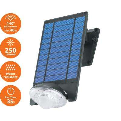 250-Lumen Motion Activated Outdoor Adjustable LED 6500K Solar Powered Landscape Flood Light Wall Mount or Ground Light