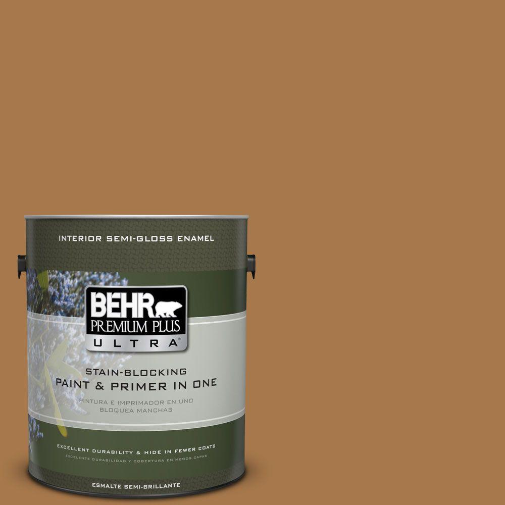 1 gal. #HDC-CL-18A Butter Caramel Semi-Gloss Enamel Interior Paint