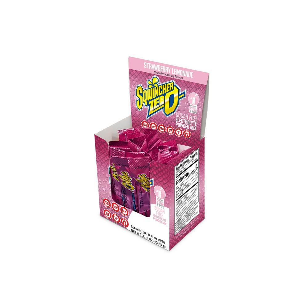 Sqwincher Zero Sugar Qwik Stik Single Serve 0.11 oz. Strawberry Lemonade Electrolyte Drink Mix Powder (120-Stiks per Case)