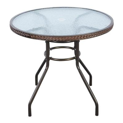 Black Round Metal 28 in. H Outdoor Dining Table with Extension