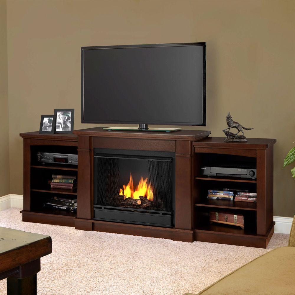 Real Flame Hawthorne 75 in. Media Console Gel Fuel Fireplace in Dark Espresso