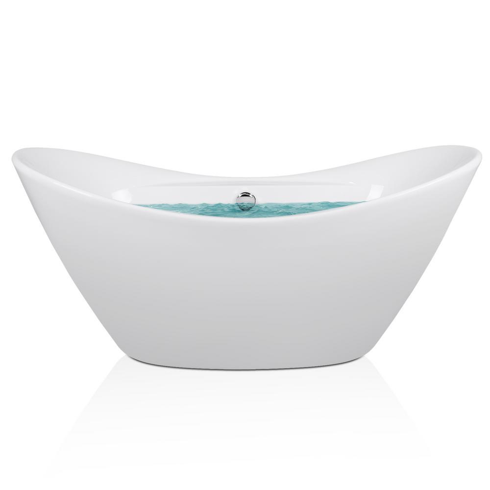 Acrylic Center Drain Oval Double Slipper Flatbottom Non Whirlpool  Freestanding Bathtub