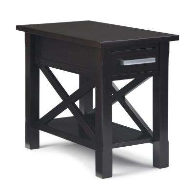 Kitchener Solid Wood 14 in. Hickory Brown Wide Contemporary Narrow Side Table