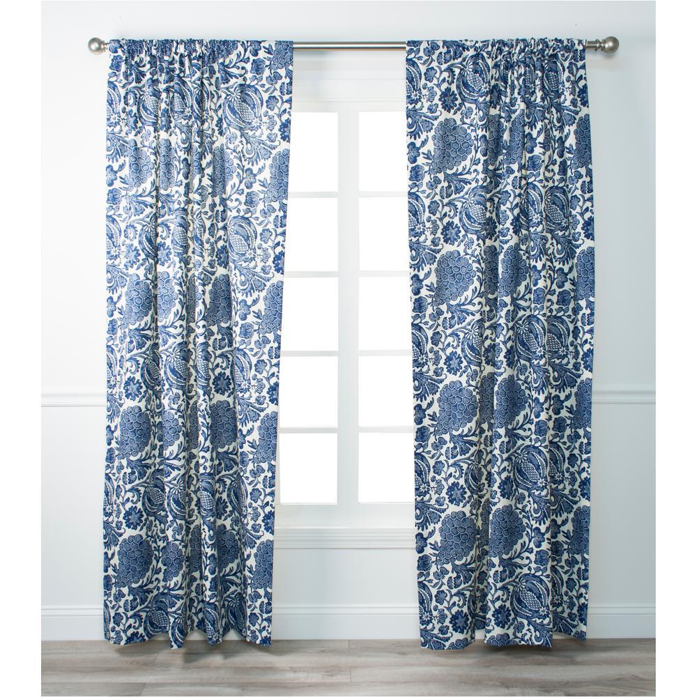 Batik Indigo Cotton Lined Tailored Panel - 50 in. W x 84 in. L