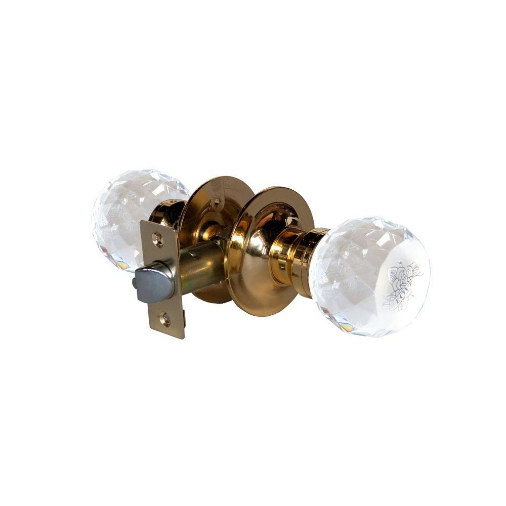 Krystal Touch of NY Love Rose Crystal Brass Passive Door Knob with LED Mixing Lighting Touch Activated