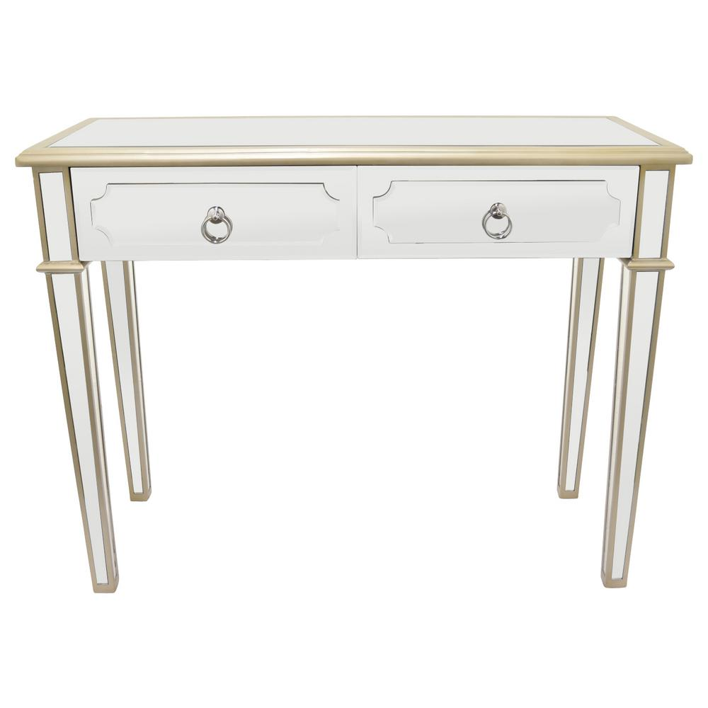 Three Hands 31 In Champagne Wood Mirror Console Table