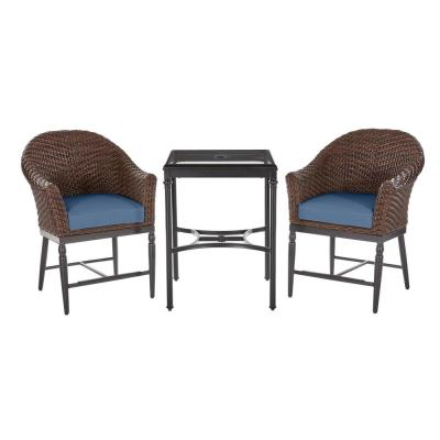 Home Decorators Collection Camden 3-pc Dark Brown Wicker Outdoor Patio Balcony Height Bistro Set w/ CushionGuard Sky Blue Cushions