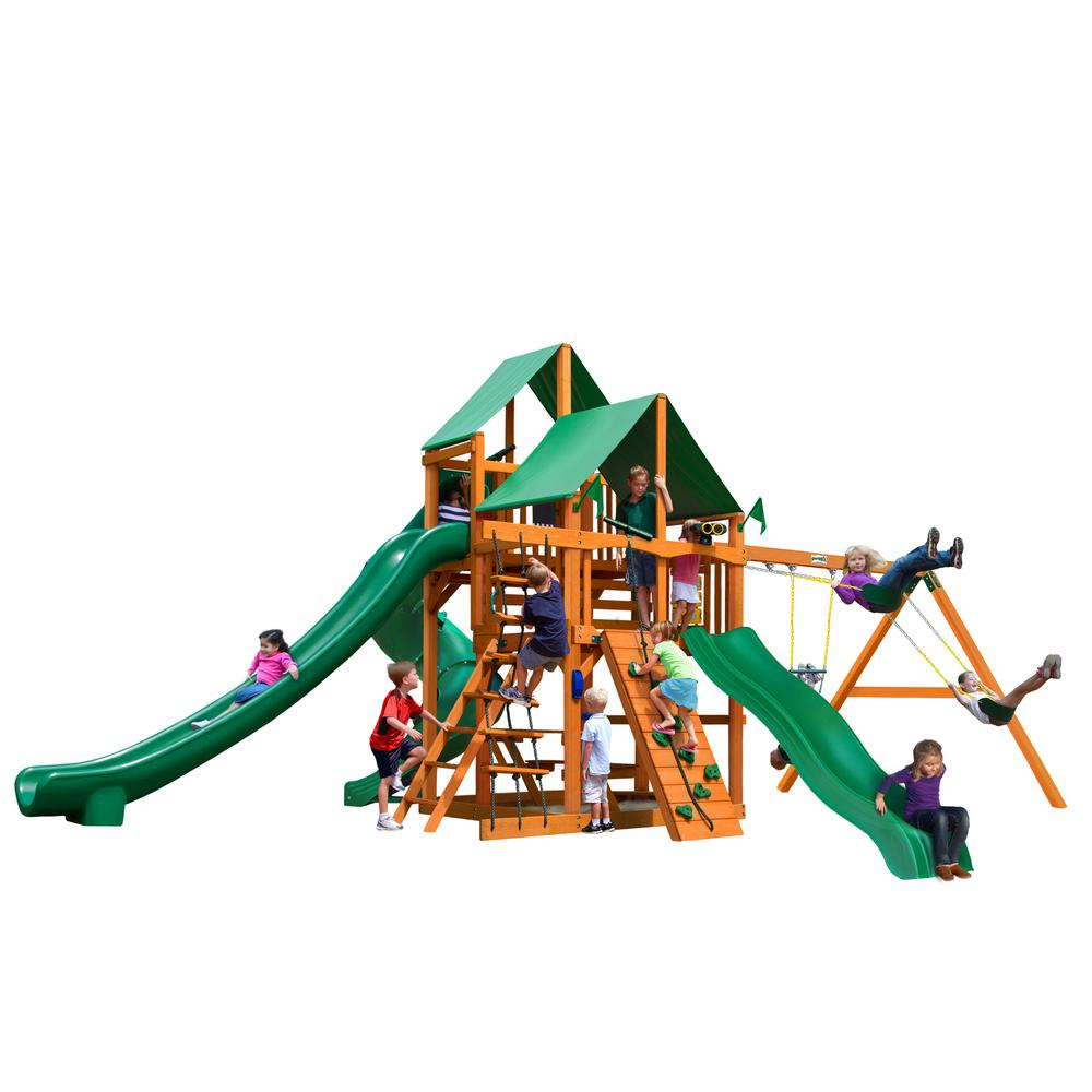 Gorilla Playsets Great Skye II Wooden Swing Set with Green Vinyl Canopy and 3 Slides