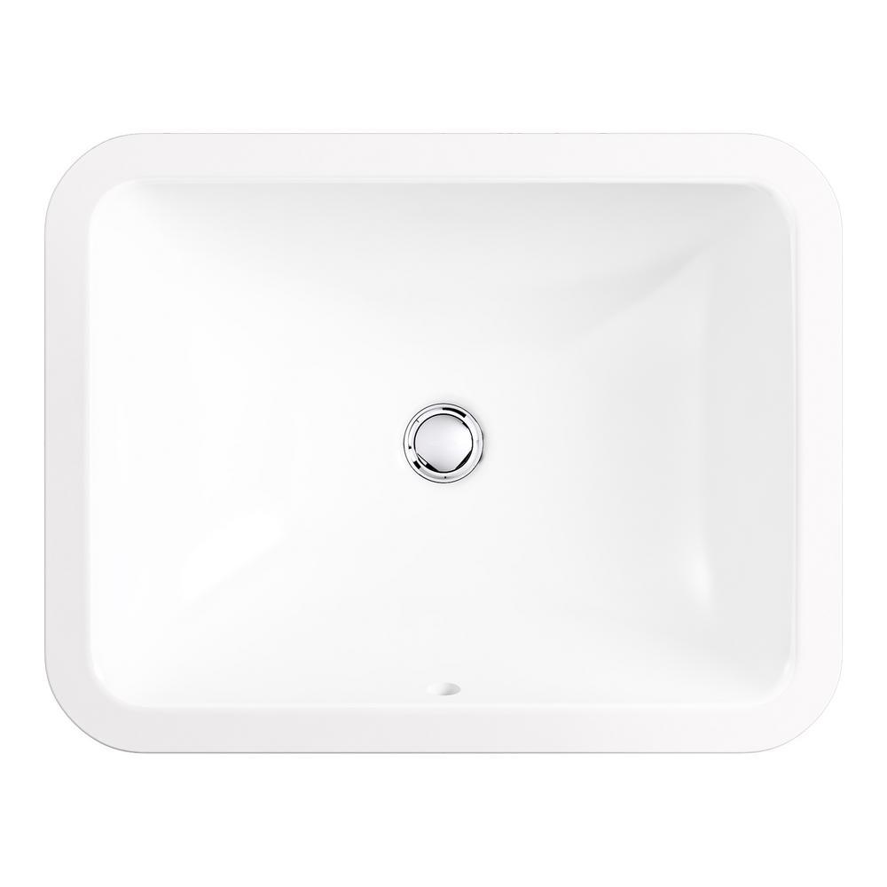 Black x 15-3//4 in KOHLER K-20000-7 Caxton Rectangle 20-5//16 in Undermount Bathroom Sink