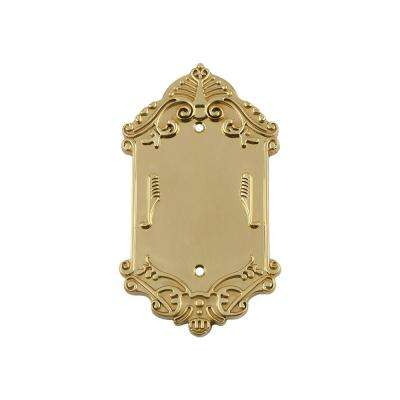 Victorian Switch Plate with Blank Cover in Un-Lacquered Brass