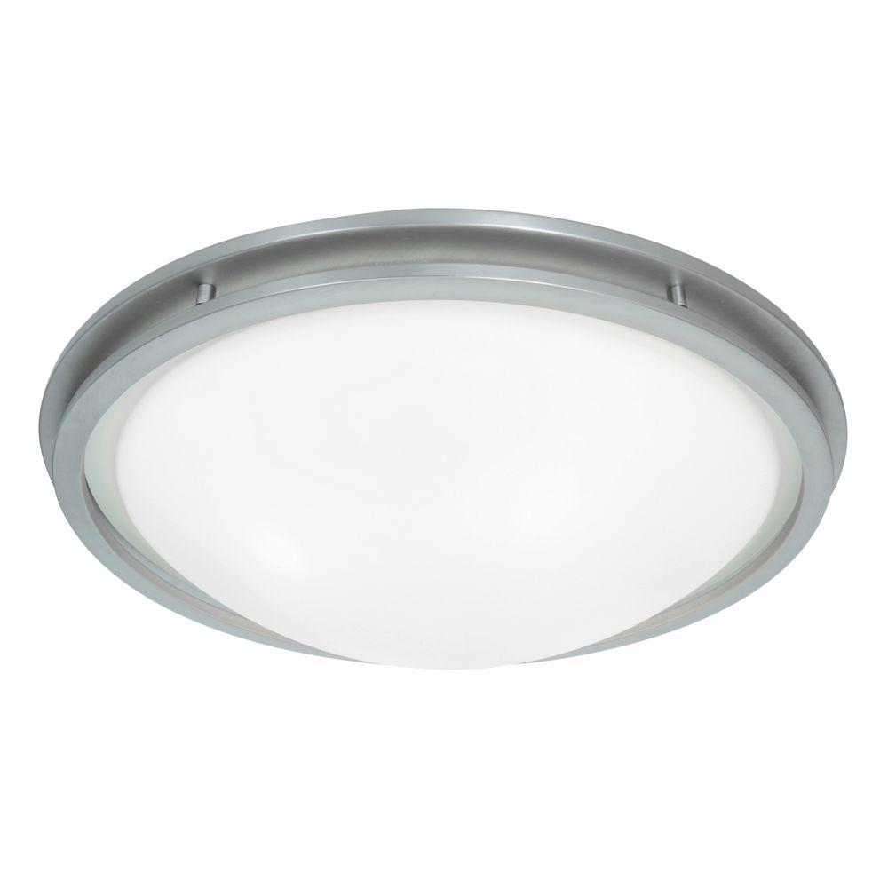 Access Lighting Aztec 1-Light Brushed Steel LED Flush Mount with White Glass Shade