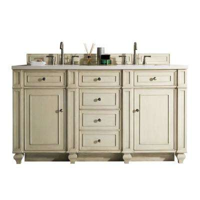 Bristol 60 in. W Double Vanity in Vintage Vanilla with Solid Surface Vanity Top in Arctic Fall with White Basin
