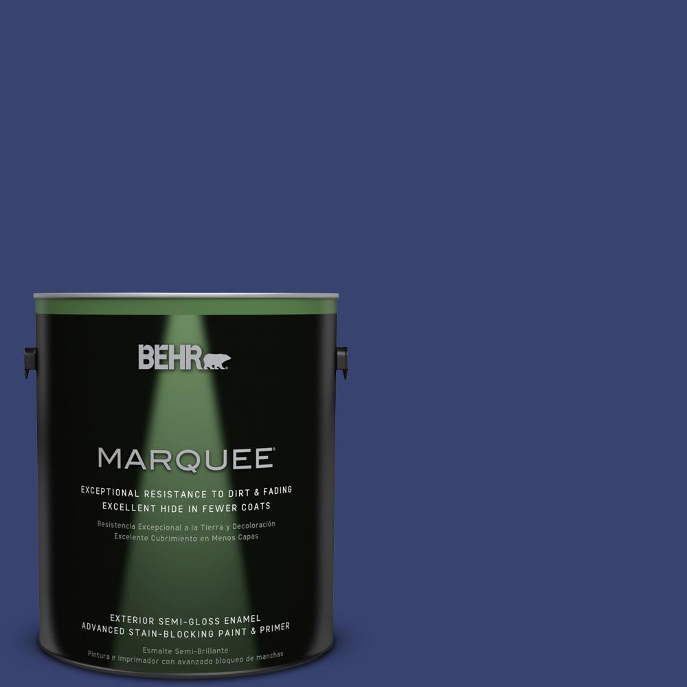 1 gal. #T18-18 Constellation Blue Semi-Gloss Enamel Exterior Paint