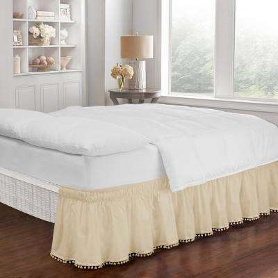 Pom Pom Ivory King/Queen Bed Skirt