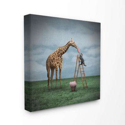 """30 in. x 30 in. """"Surreal Raccoon Feeding a Giraffe Cotton Candy from a Ladder"""" by Greg Noblin Canvas Wall Art"""