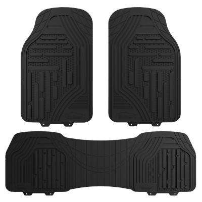 Black Heavy Duty Trim to Fit 3-Pieces 27 in. x 18 in. Rubber Floor Mats