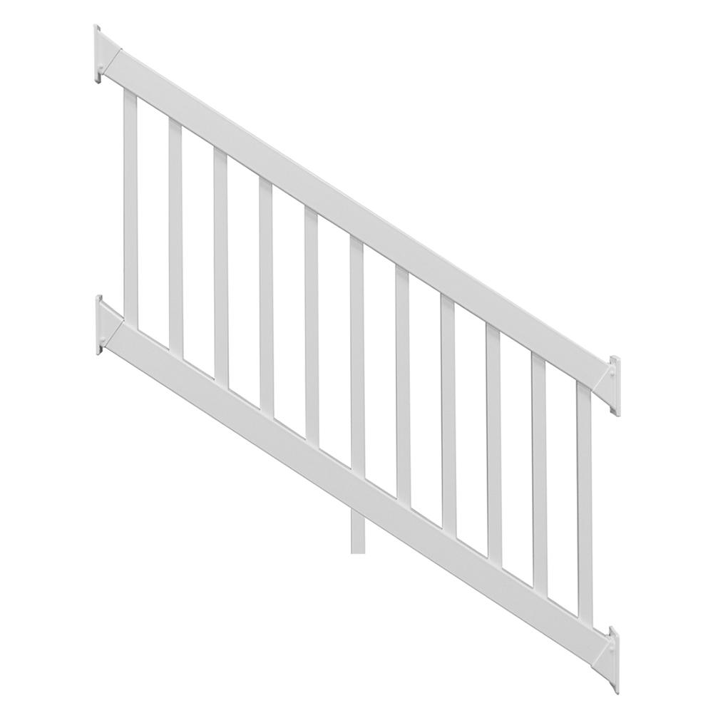 ez handrail 8 ft x 42 in white aluminum baluster railing. Black Bedroom Furniture Sets. Home Design Ideas