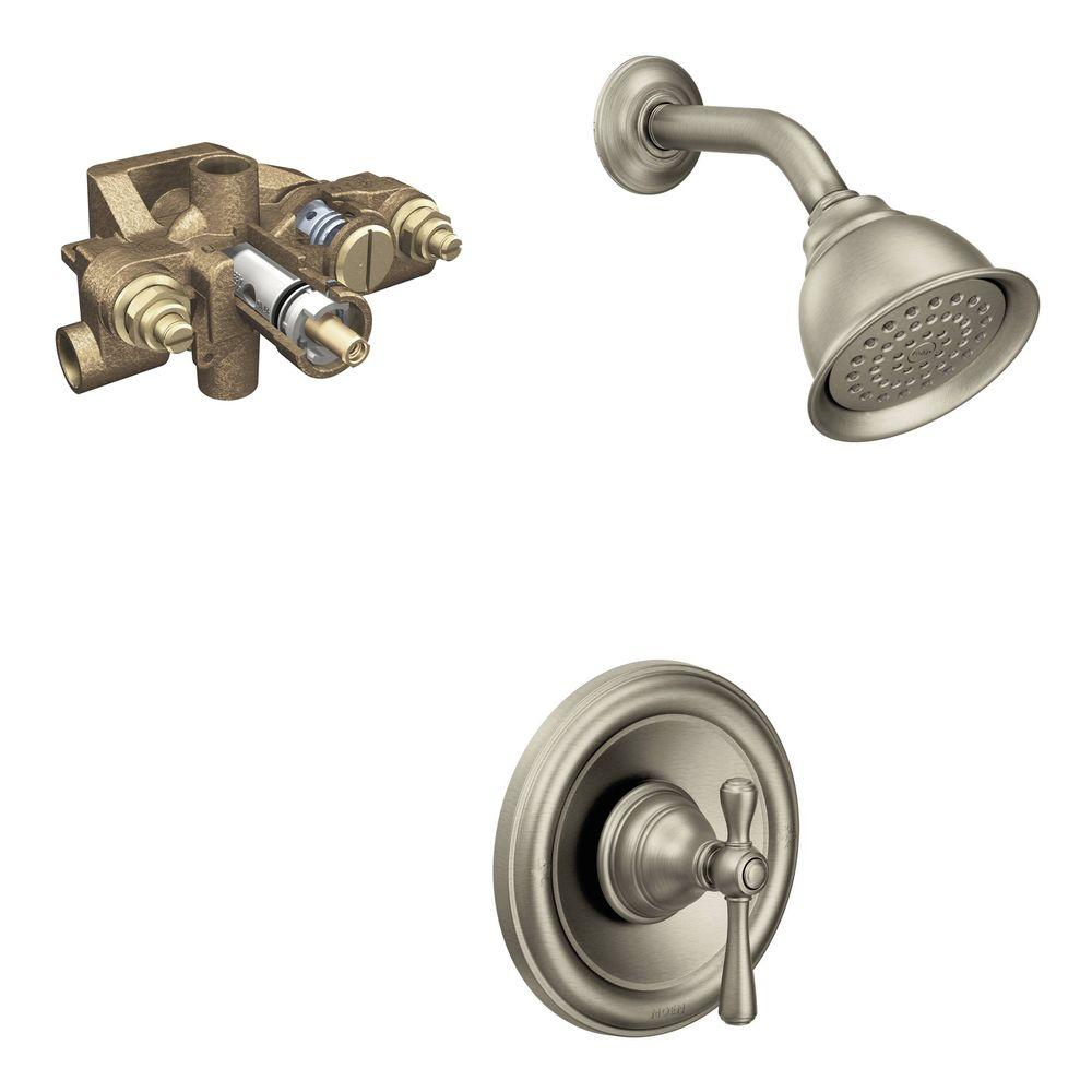 shower head and faucet combo. MOEN Kingsley Single Handle 1 Spray Shower Faucet Trim Kit with Valve in  Brushed