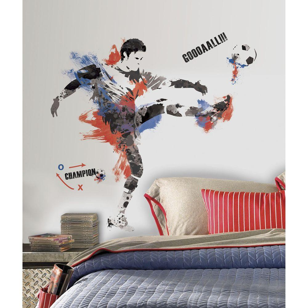 2.5 in. x 18 in. Men\'s Soccer Champion Peel and Stick Giant Wall Decals