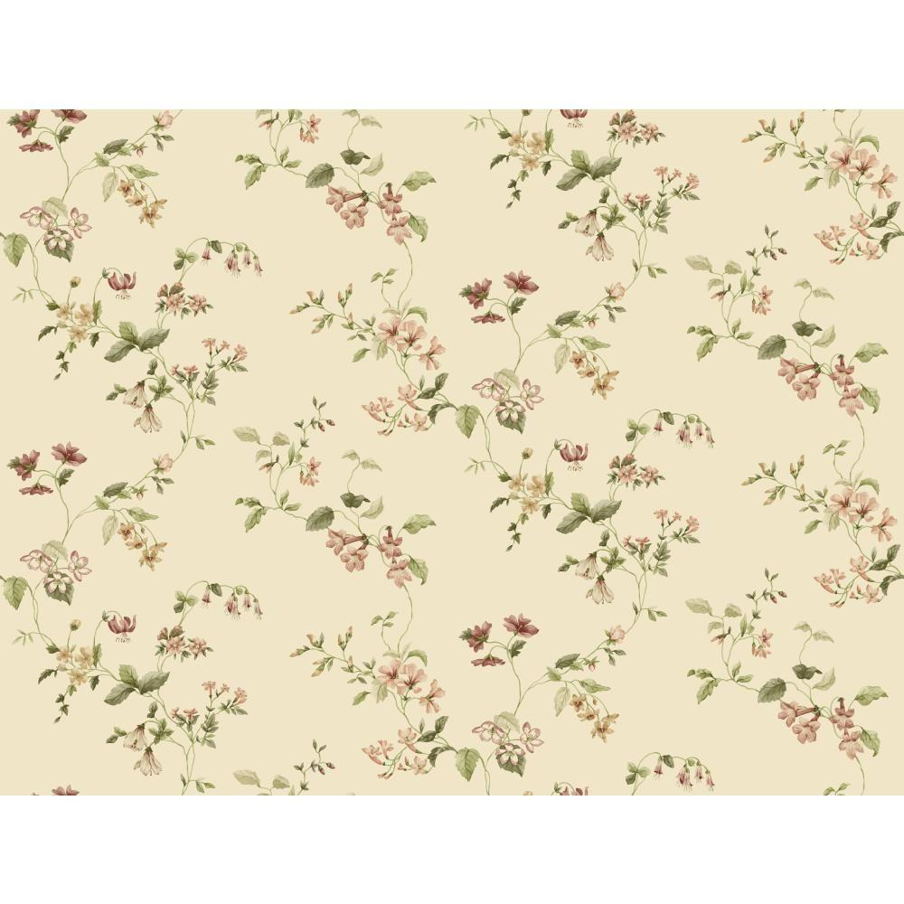 York Wallcoverings Taupe Wild Flower Trail Wallpaper
