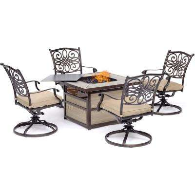Traditions 5-Piece Aluminum Fire Pit Patio Seating Set with Tan Cushions, Swivel Rockers and Fire Pit Table
