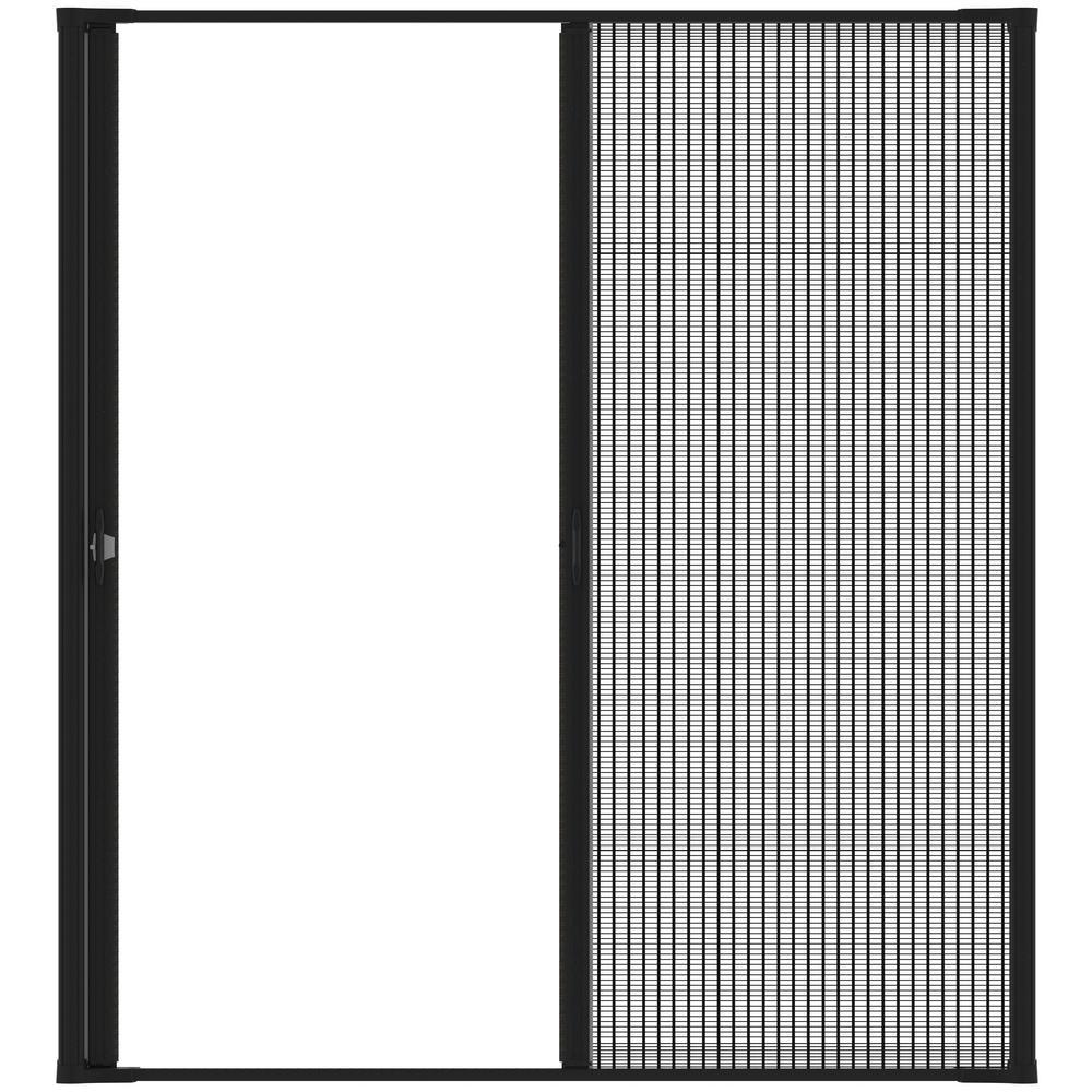 72 in. x 97 in. Brisa Black Tall Double Retractable Screen Door Kit