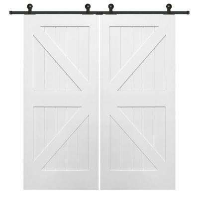72 in. x 84 in. Primed Composite K-Plank Double Barn Door with Matte Black Sliding Door Hardware Kit