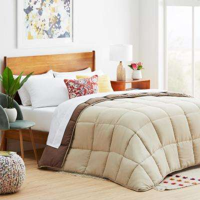 Sand/Mocha Full Down Alternative Microfiber Comforter