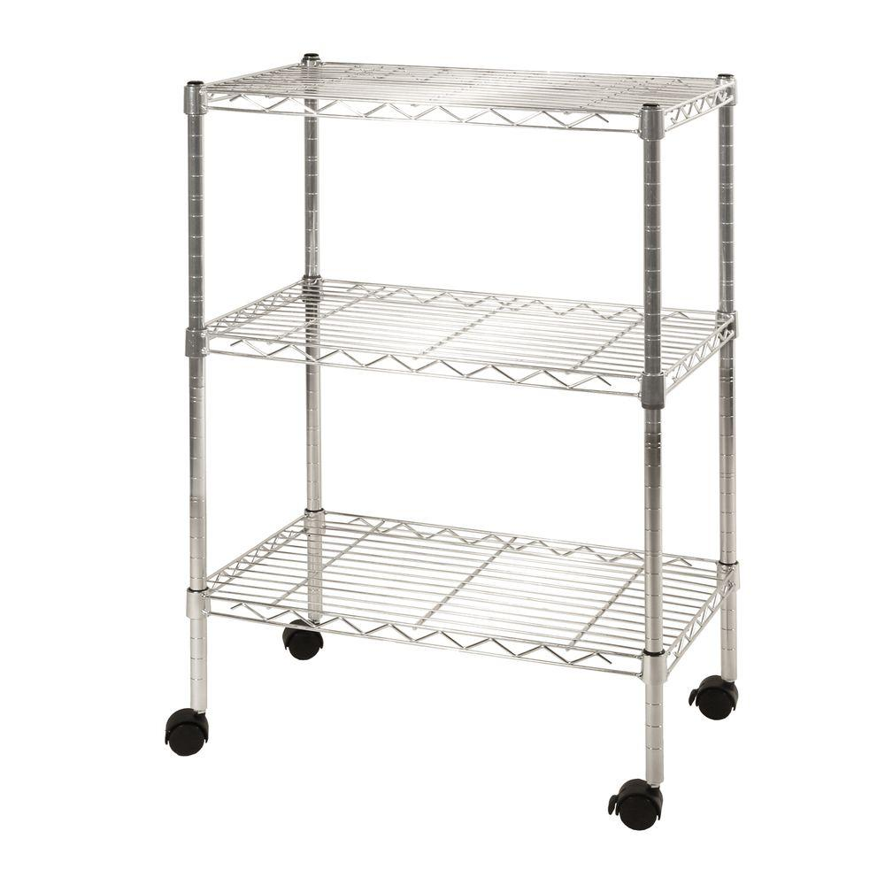 Seville Classics 3 Shelf Steel Wire 4 Wheeled Cart In UltraZinc