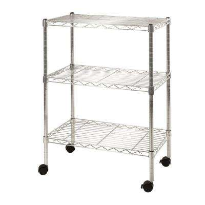3-Shelf Steel Wire 4-Wheeled Cart in UltraZinc