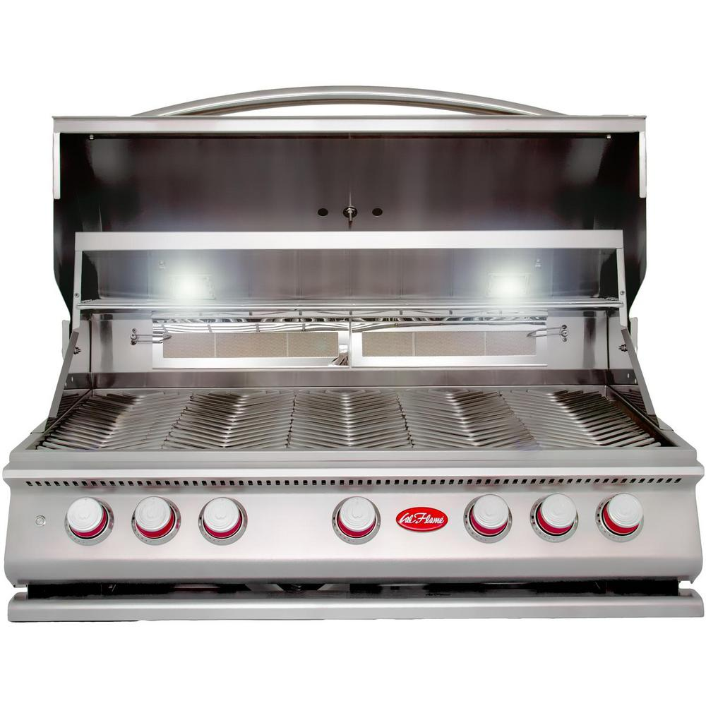 Cal Flame 5 Burner Built In Stainless Steel Propane Gas Grill With Rotisserie Bbq19p05 The Home Depot