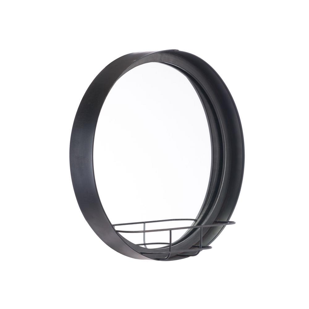 Round Antique Black Small Wall Mirror Shelf
