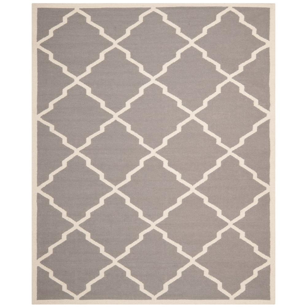 Dhurries Grey/Ivory 9 ft. x 12 ft. Area Rug