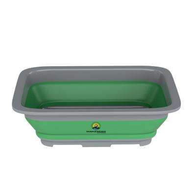 10 in. L Collapsible Multi-use Portable Wash Bin in Green