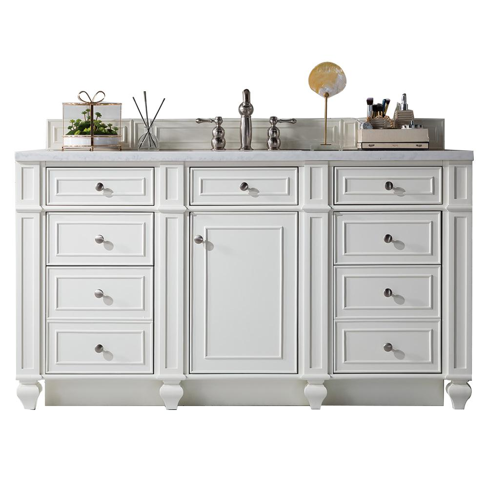 James Martin Vanities Bristol 60 in. W Single Vanity in Cottage White with Marble Vanity Top in Carrara White with White Basin