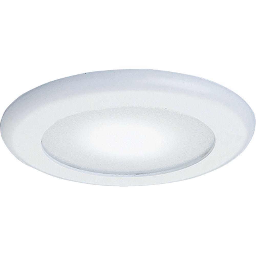 6 in. White Recessed Albalite Shower Trim