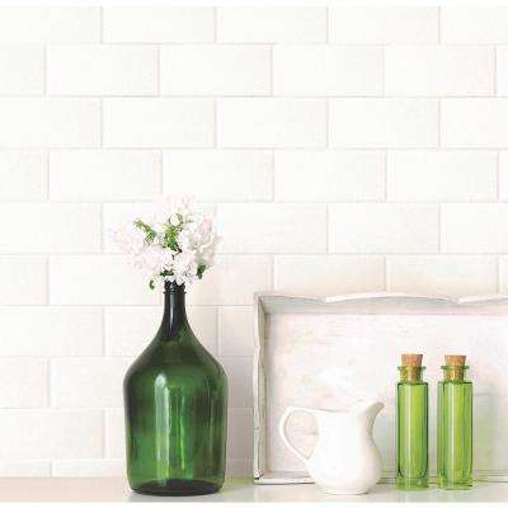 Paintable White Tile Wallpaper