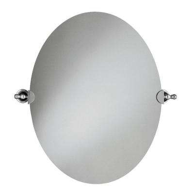 29 in. L x 26 in. W Revival Oval Wall Mirror in Polished Chrome