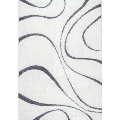 Carolyn Contemporary Curves Shag White 2 ft. x 3 ft. Area Rug